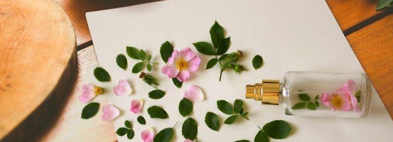 Um pequeno frasco de perfume com uma florzinha rosa dentro ao redor há várias folhinhas e pétalas.